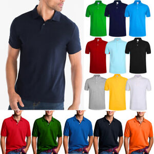 Men's Polo Shirt Dri-Fit Quick-Dry Golf Sports Tee Cotton Jersey Plain T Shirt