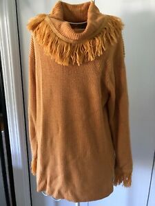 FIA ITALIA size S Mustard Hello Hand Loomed Sweater Fringe Detail Cotton Blend
