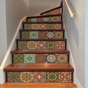 6pcs 3D Mosaic Stairs Tile Risers Decal Sticker Staircase Stair Decor waterproof $14.99