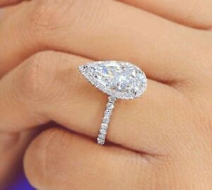 10k White Solid Gold Pear 4CT White Diamond Wedding Engagement Ring For Women's