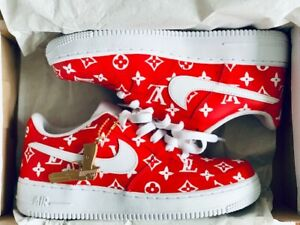 Nike Air Force 1 One Low AF1 07 custom October Red  White Mens ALL SIZES