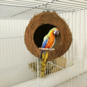 US Natural Coconut Shell Bird House Nest Hut Cage Feeder Pet Parrot Birds Toy