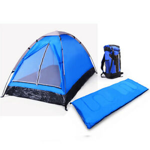 3 Piece - 1 Person Camping Gear Set Blue Or Red With Sleeping Bag And Backpack