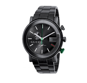 New Gucci G-Chrono Chronograph All Black PVD Stainless Steel YA101331 Mens Watch