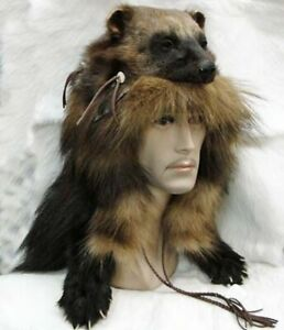 REAL Wolverine Head Mountain Man or Woman Hat Real Fur Large Skin Pelt Hunting