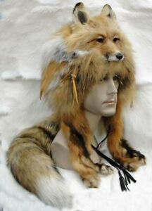 REAL Red Fox Head Mountain Man or Woman Hat Real Fur Large Skin Pelt Hunting