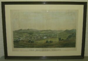 Antique METTOWEE VALLEY GRANVILLE NEW YORK Birds Eye View JH Bufford LITHOGRAPH