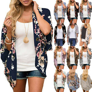 Women Floral Chiffon Shawl Kimono Cardigan Top Beach Shirt Cover Up Loose Blouse
