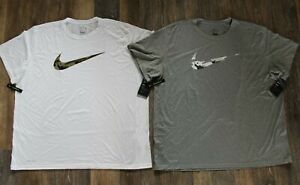 NWT NIKE MENS DRI-FIT Big Tall CAMOUFLAGE Athletic T-Shirt Gray White