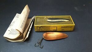 Vintage Eppinger Dardevlet #109 Spoon Fishing Lure Box Copper w RED wwhite