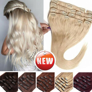 CLEARANCE 100% Remy Human Hair Clip in Real Hair Extensions Full Head THICK Skin $13.96