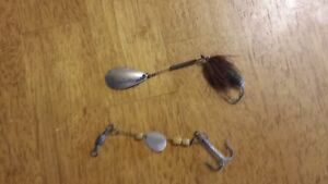 Lot of 2 vintage fishing lures Spinners Mother of Pearl