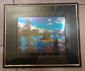 Scenic Print - Lake - Mountains - Evergreens - Framed 10 x 12 - Excellent