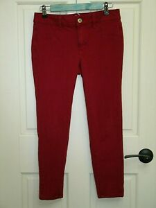 American Eagle Womens 6 (30x25) Deep Red Cropped Jegging Jeans Stretch 125-15478