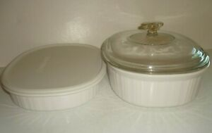 2 Corning Ware French White Covered Casserole Dish Bowl Oblong Ribbed 2.8L, 1.8L