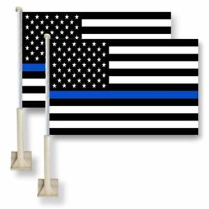 2 Pack Lot 12x18 USA Thin Blue Line Police Car Flag FLAGS WINDOW 18