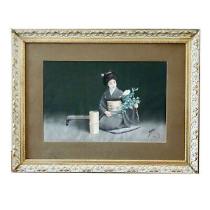 Vintage to Antique Japan signed Tani ? watercolour painting Woman w Flowers