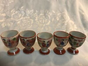 Japan Satsuma Geisha Ware Egg Sake Cups Lot Of 5