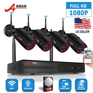 ANRAN 4CH Outdoor CCTV Wireless Security Camera System 1080P WiFi HDMI NVR 1TB