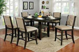 Beautiful Counter Height 7pc Dining Set Storage Table Design Chairs Furniture