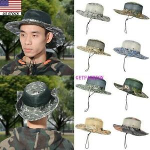 Unisex Boonie Suncap Outdoor Hat Drawstring for Fishing Hiking Camping