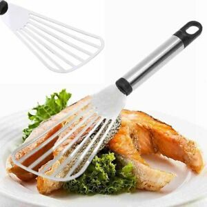10'' Stainless Steel Flat Fish Slice Frying Spatula Leaky Shovel Kitchen Tools