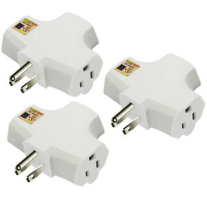 3-Grounded Outlet T-shaped Adapter Heavy Duty Triangle standard plugs 3 Pack