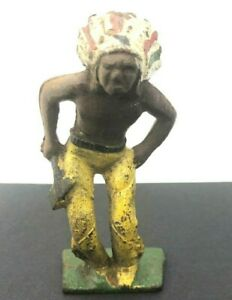 Lineol Elastolin Hausser Germany Indian Native Warrior Chief Figure Toy Yellow