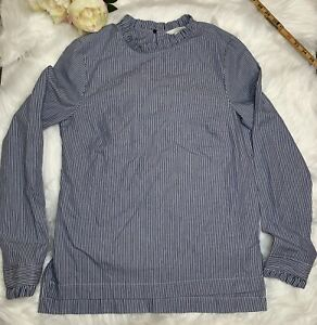 H M Blue Striped Blouse Sz 4 Ruffle Band Collar Sleeve Blouse Vented Sides $14.99