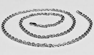 14k White Gold Cable Link Pendant ChainNecklace 24