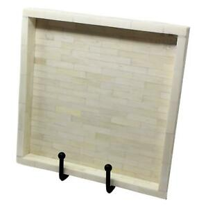 Elegant Natural White Tiled Square Decorative Tray  16