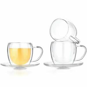 UNIVERSE 8-ounce Set of 2 Double Wall Glasses With Handle Clear Cups Coffee Tea