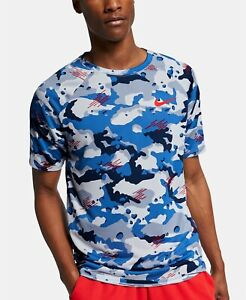 NWT NIKE MEN'S DRI-FIT Big & Tall CAMOUFLAGE Athletic T-Shirt White Red Blue
