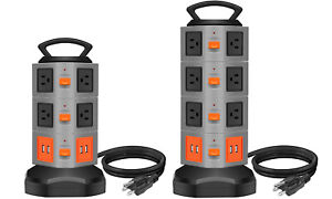 3000W Power Strip Tower 6.5 feet Extension Cord Surge Overload Protector
