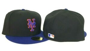 New Era Black Royal Blue New York Mets Official On-field Gray Bottom Fitted Hat