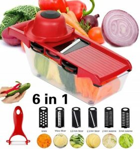 Adjustable Mandoline Slicer, 6 SS Blades Cuts Slices Grates Juliennes Vegetables
