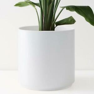 White Ceramic Plant Pot Cylinder Large Planter Indoor Outdoor in 5 Sizes
