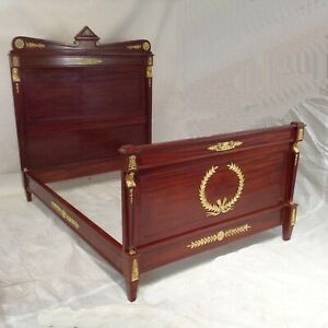 Empire Bed Mahogany Gold-Plated Fittings Design Lounger Furnishing Bedroom