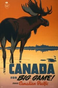 Canada for Big Game vintage travel poster repro 24x36 $9.95