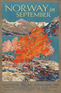 Norway in Septempber vintage travel poster repro 24x36 $9.95