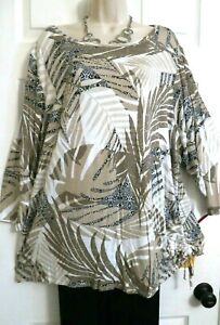 NEW Tropical Stretch Adjustable Side Tie Tunic Top Ruby Rd Plus 1X Brown White