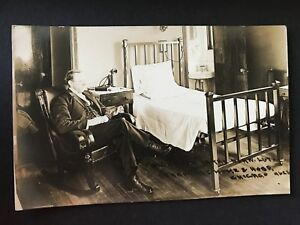 Norwegian Lutheran Deaconess Home and Hospital Chicago Man Sitting by Bed RPPC