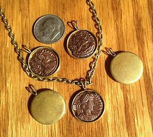 Ancient Roman Coin Necklace Pendant Jewelry Cabachon Locket Base Roman Coin $19.99