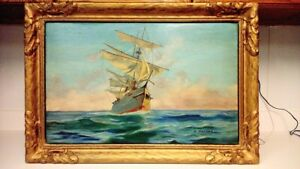 Antique signed original ship oil painting  $208.57
