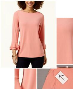 charter Club Womens Layered Sleeve Boat Neck Top. 100036243MS Pink Guava XS $12.00