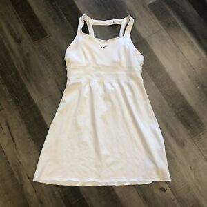 Nike Tennis Dress Medium M White Skirt Solid Keyhole Back