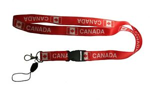 CANADA Red Country Flag LANYARD KEYCHAIN PASSHOLDER .. 20quot; Inch Long..New