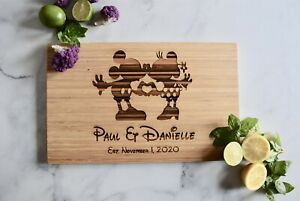 Mickey & Minnie- Disney Inspired Custom Engraved Cutting Board-Personalized Gift