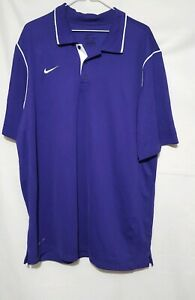 Mens Nike Dri Fit purple white logo polo shirt extra large XL