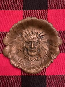 Rare And Awesome Indian Chief Pin Tray Bronze Unger